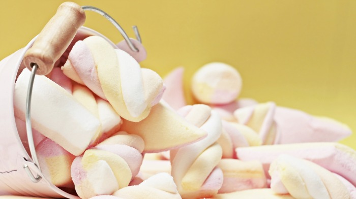 A pile of marshmallows on a table.