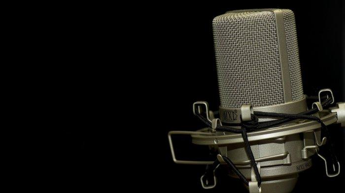 A condenser microphone sits in a darkened studio.