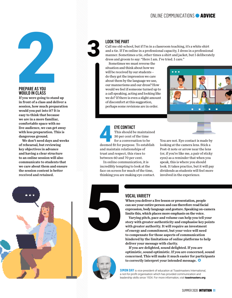 Simon Day, UK communications and public speaking coach, shares top tips on speaking to camera in this article for a national education magazine.