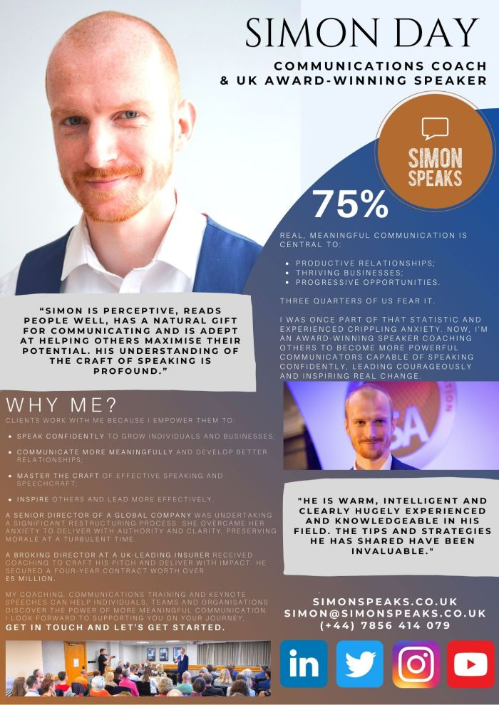 Simon Day shares his speaker one sheet detailing his role as a UK-based public speaking and communications coach.